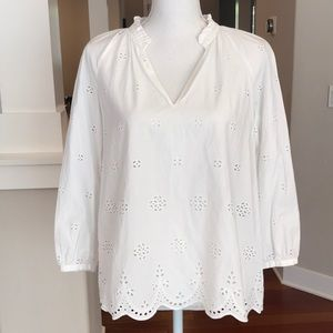 MADEWELL TUNIC TOP PRARIE BLOUSE EYELET EUC XS